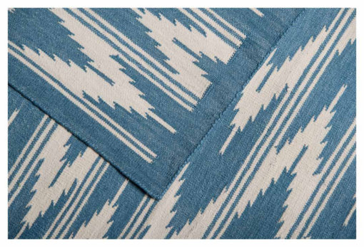IKAT - TEAL BLUE & WHITE Closeup