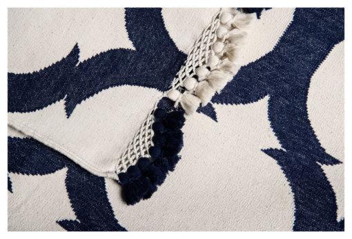 LATTICE - WHITE & ROYAL NAVY WITH HAWAL TASSELS Closeup