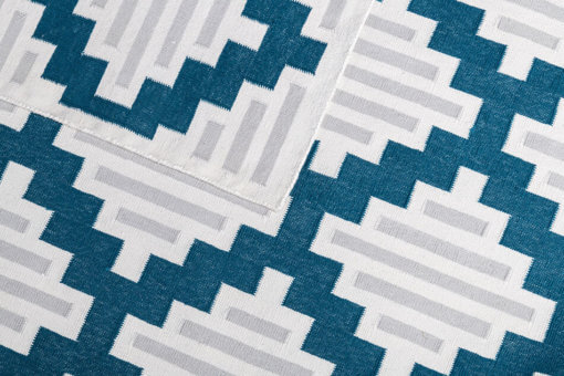 SICILIAN TILES - LAGOON BLUE & COIN GREY Closeup