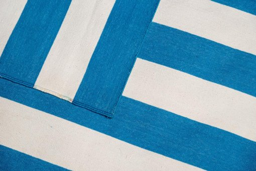 CARNIVAL STRIPES - VINTAGE BLUE & OFF WHITE Closeup