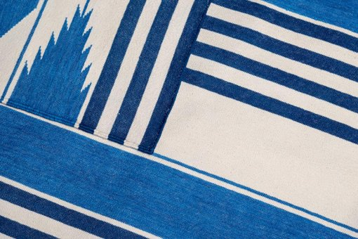 HERITAGE STRIPES - HAMPTONS BLUES & OFF WHITE Closeup
